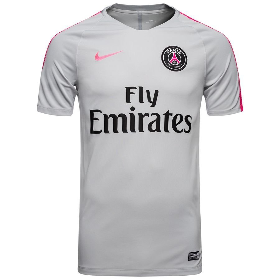 Paris Saint-Germain T-shirt d'Entraînement Breathe Squad - Gris/Rose Enfant