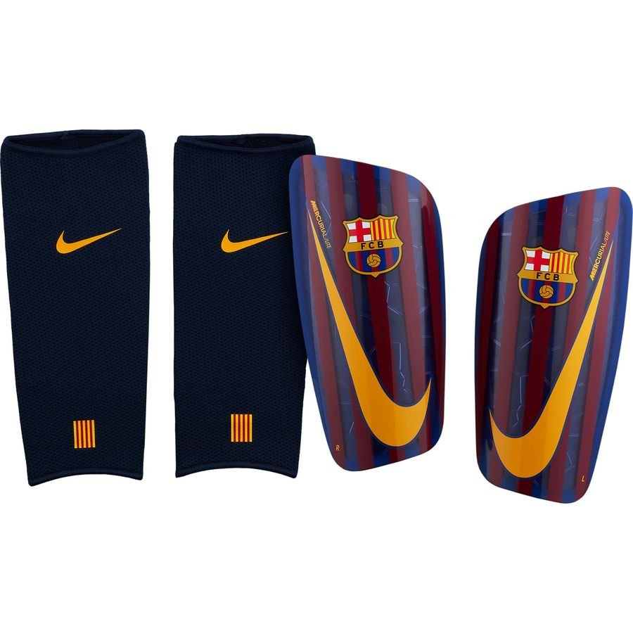 FC Barcelone Protège-Tibias Mercurial Lite - Bleu Marine/Jaune Doré