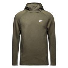 nike hættetrøje nsw tech fleece - grøn/hvid - hættetrøjer