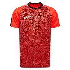 nike trænings t-shirt dry academy gx 2 - rød/sort børn - træningstrøjer