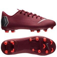 nike mercurial vapor 12 academy mg rising fire - bordeaux/grå/rød børn - fodboldstøvler