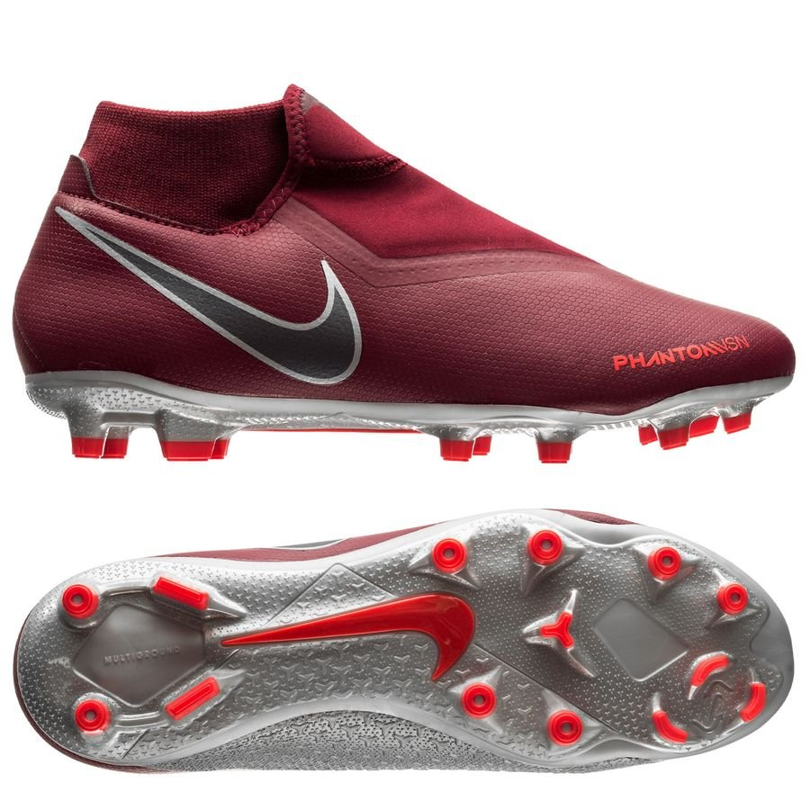 Nike Phantom Vision Academy DF MG Rising Fire - Bordeaux/Gris/Rouge