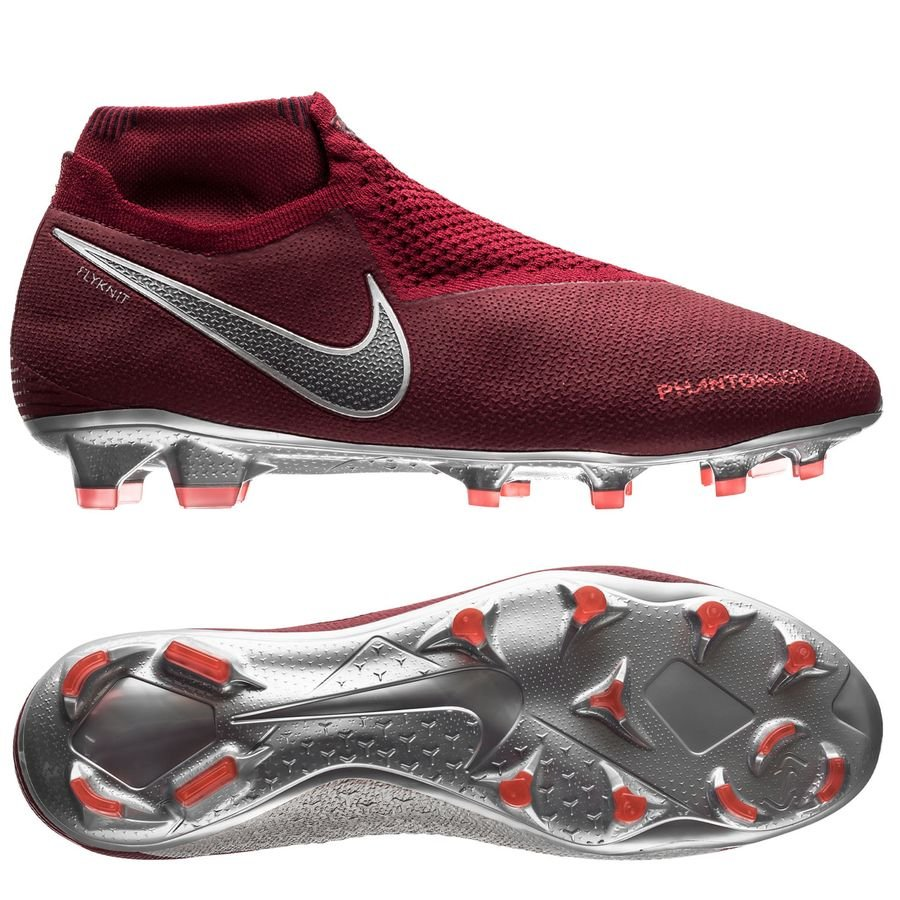 Nike Phantom Vision Elite DF FG Rising Fire - Bordeaux/Gris/Rouge