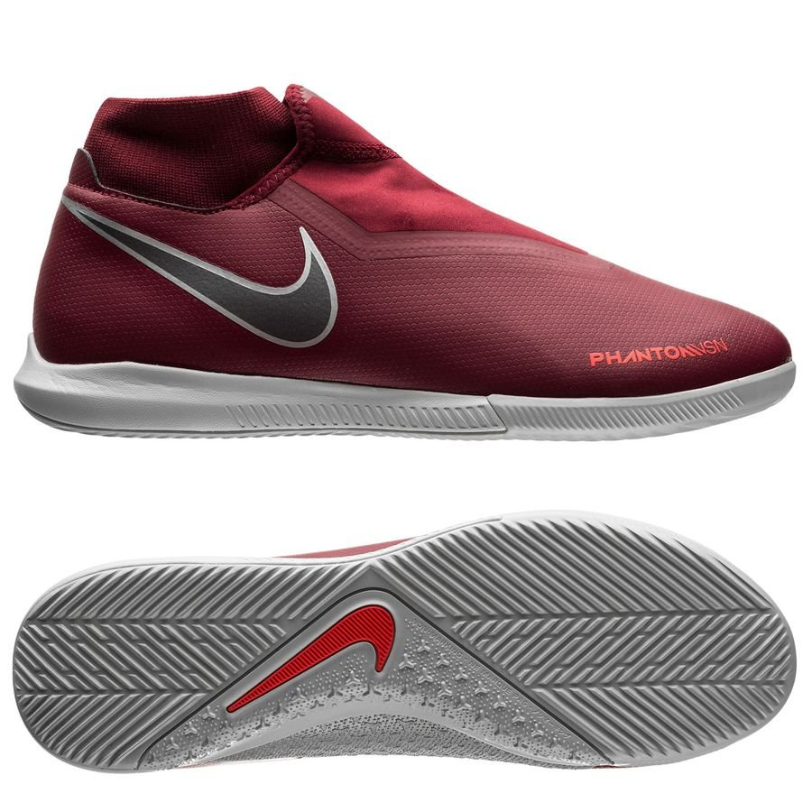 Nike Phantom Vision Academy DF IC Rising Fire - Bordeaux/Gris/Rouge