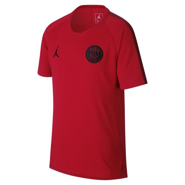 Paris Saint Germain T shirt d'Entraînement Breathe Squad CHL Jordan x PSG RougeNoir Enfant