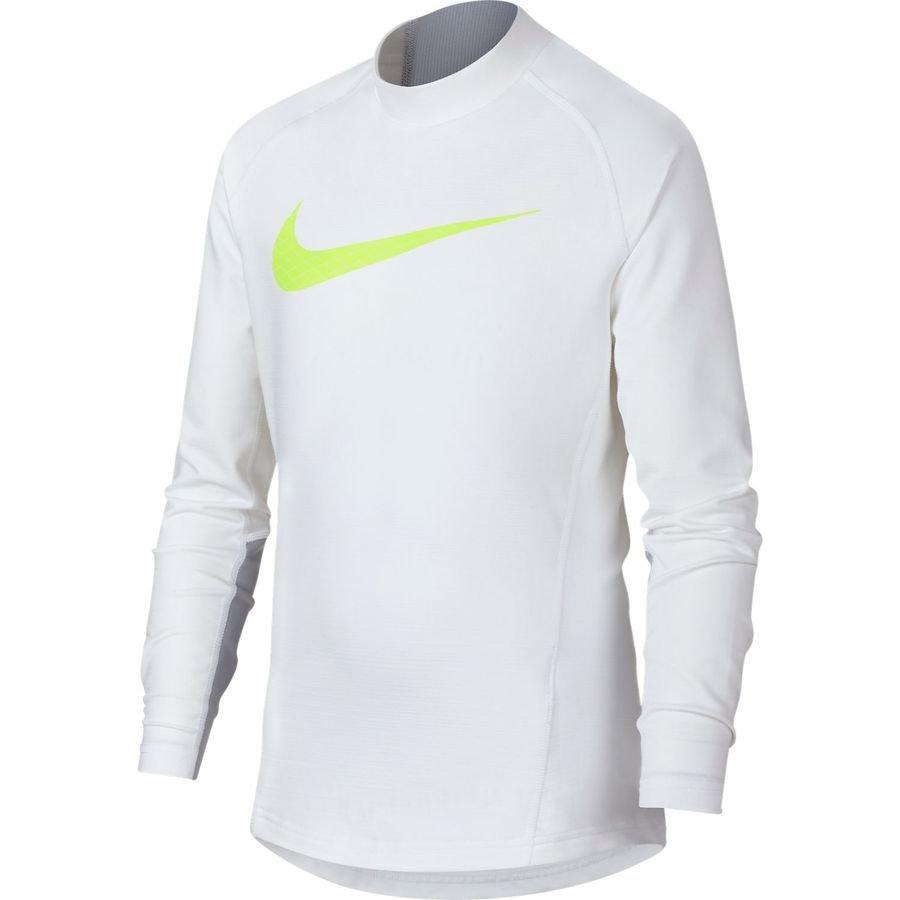 Nike Pro Compression Warm Mock GFX Manches Longues - Blanc/Jaune Fluo Enfant
