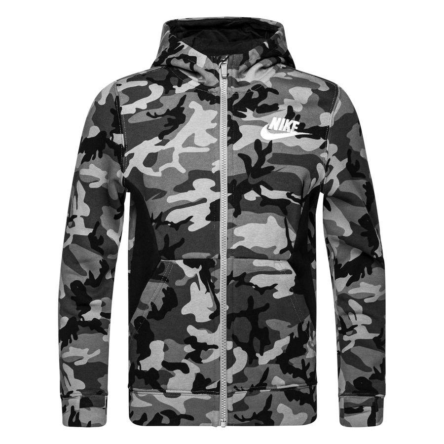 89d7bad6797e nike hoodie nsw fleece aop - grau schwarz weiß kinder - hoodies ...