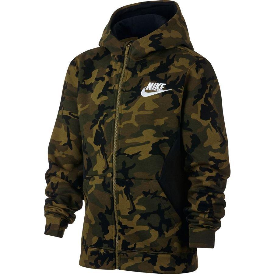 c43897e13d14 nike hoodie nsw fleece aop - grün schwarz weiß kinder - hoodies ...