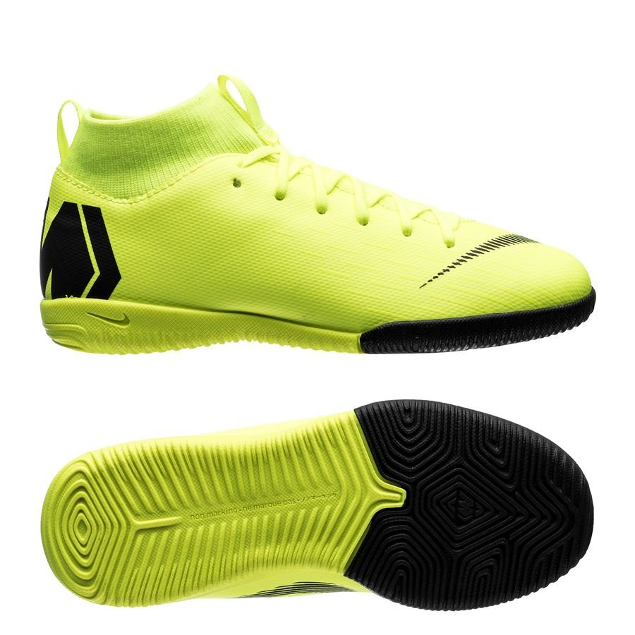 nike mercurial superfly 6 academy ic always forward - volt black kids -  indoor shoes ... d8a39f476646