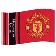 manchester united flag - rød/gul/sort - merchandise