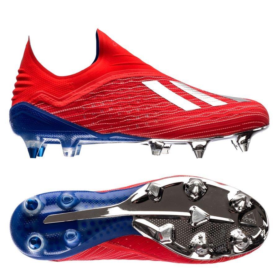 low priced 38856 29fe1 adidas X 18+ SG Exhibit - Rouge Argenté Bleu   www.unisportstore.fr