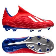 adidas X 18+ FG/AG Exhibit - Action Red/Silver Metallic/Bold Blue Kids