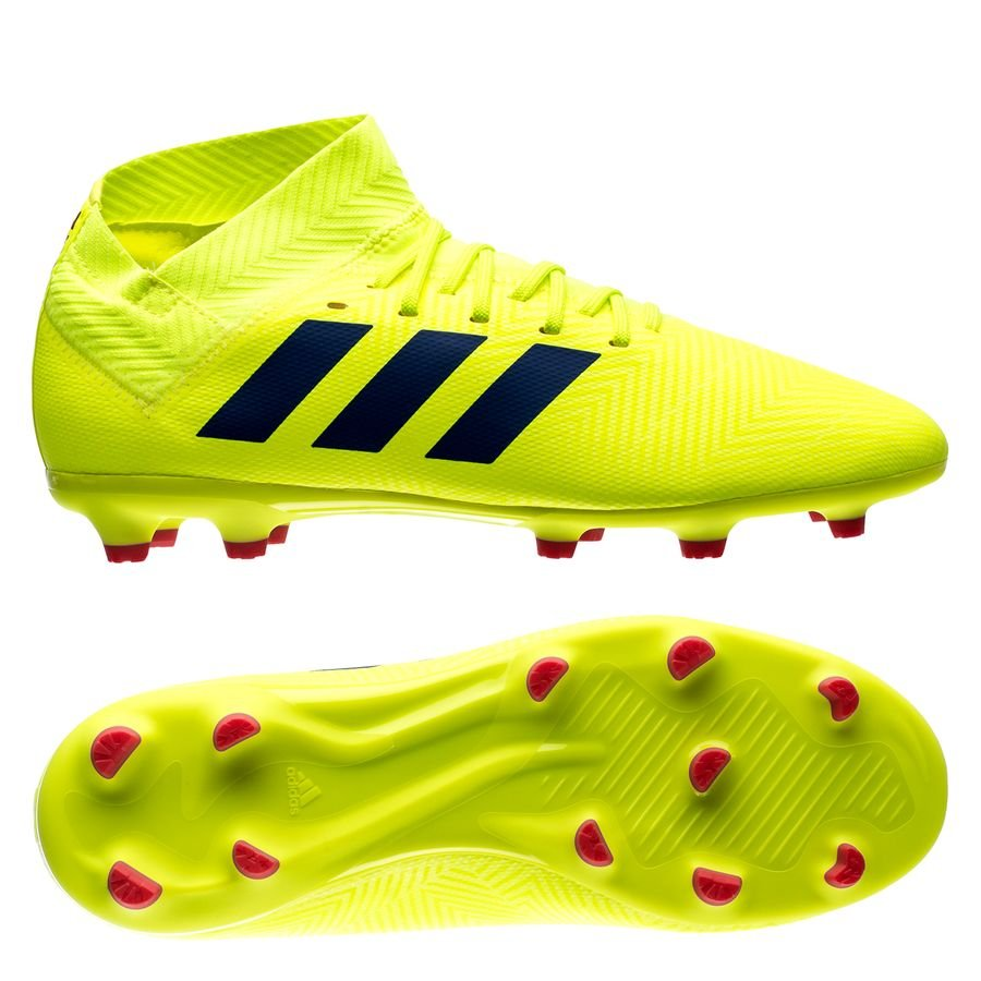 66f357d88da5 adidas nemeziz 18.3 fg ag exhibit - solar yellow blue kids - football boots  ...