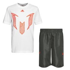 adidas Trainingsshirt + Trainingsshorts Messi Summer - Wit/Grijs Kinderen