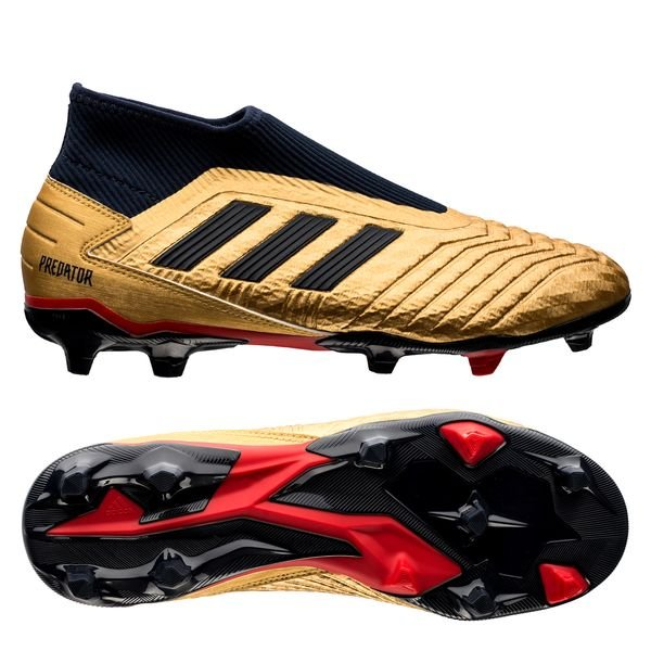 adidas Predator 19.3 Laceless ZZ & DB Icon FG/AG - Gold Metallic/Navy/Red  LIMITED EDITION