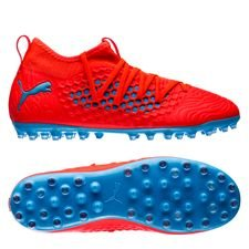 puma future 19.3 netfit mg power up - red blast/bleu azur kids - football boots