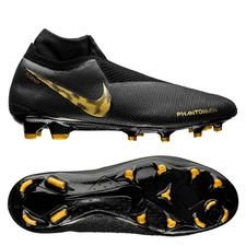 nike phantom vision elite df fg black lux - noir/doré - chaussures de football
