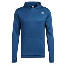 Løb gennem kulden. Denne løbehættetrøje holder dig varm på kølige dage. Den er lavet i svedtransporterende stof, der holder dig tør, når din træning tager fart.