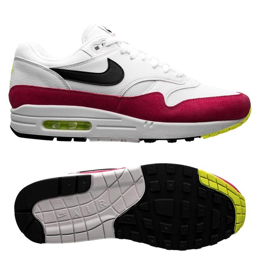 Nike Air Max 1 - Blanc/Noir/Jaune Fluo/Rose