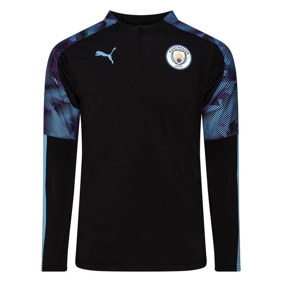 save off c1746 4e6ea Manchester City Training Shirt 1/4 Zip - PUMA Black/Light Blue