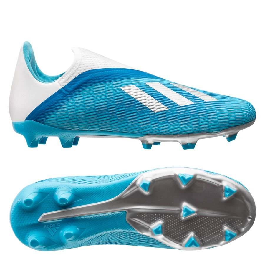 adidas X 19.3 FG/AG Laceless Hard Wired - Bright Cyan/Silver Metallic Kids
