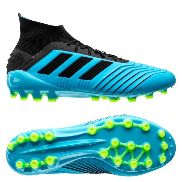 classic style detailed look closer at adidas Predator 19.1 AG Hard Wired - Bright Cyan/Core Black
