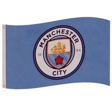 Manchester City Flagga Logo - Blå
