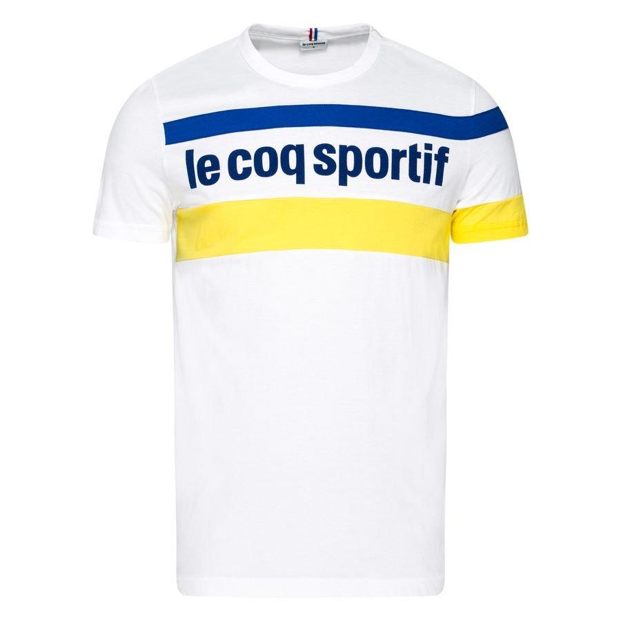 Le Coq Sportif T Skjorte Essentiels HvitGulBlå | www