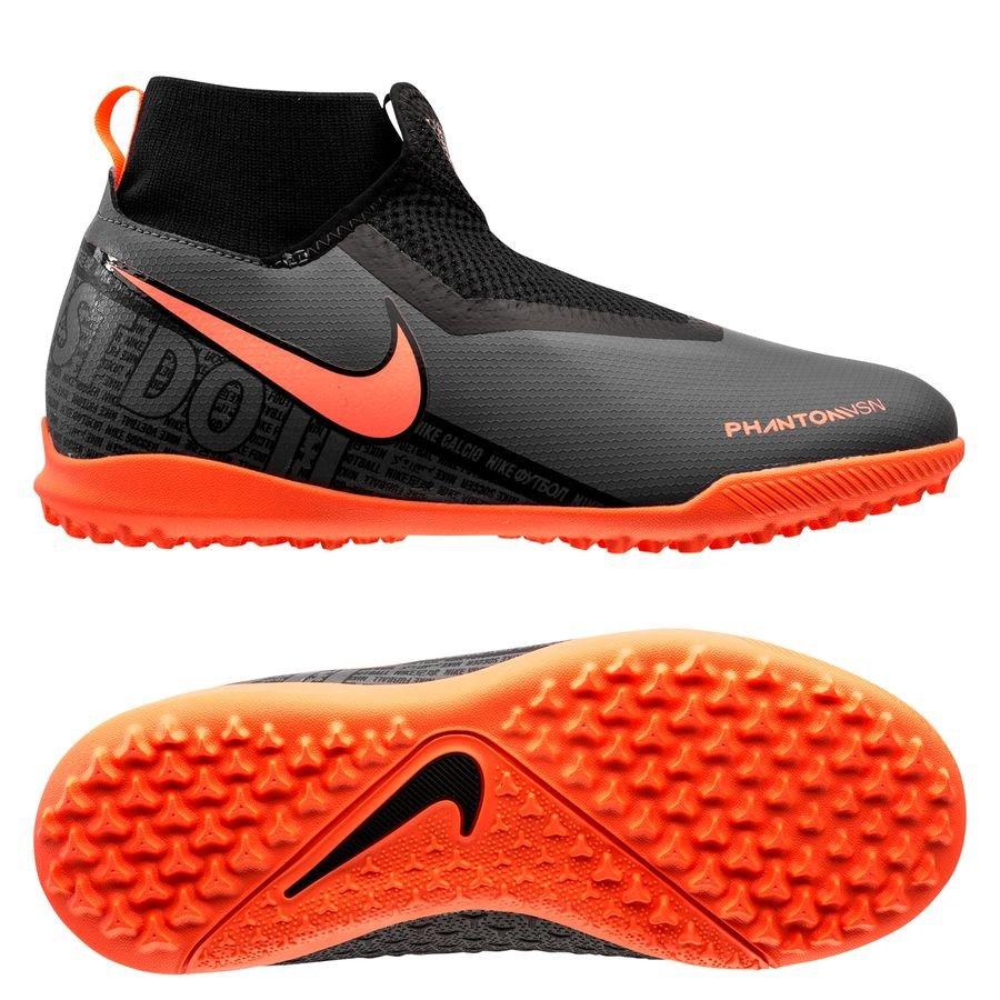 Nike Phantom Vision Academy DF TF Fire - Grå/Orange/Sort Børn