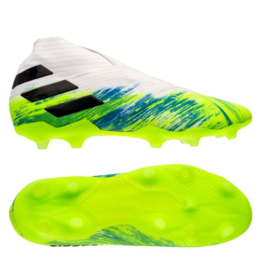 adidas Nemeziz 19+ FG/AG Uniforia - Footwear White/Core Black/Signal Green  Kids