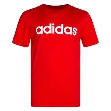 adidas T-Shirt Essential Linear Logo - Rot/Weiß Kinder