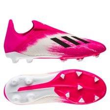 adidas X 19.3 FG/AG Laceless Uniforia - Hvid/Sort/Pink Børn