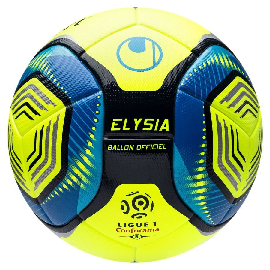 Uhlsport Football Elysia Ligue 1 Hi Vis 2019 20 Match Ball Fluo Yellow Metallic Blue Www Unisportstore Com