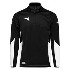 Diadora Trainingsshirt Equipo 1/2 Zip - Schwarz/Weiß