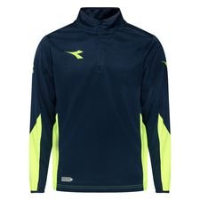 Diadora Trainingsshirt Equipo 1/2 Zip - Navy/Gelb Kinder