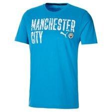 Manchester City T-Shirt FtblCore Wording - Blå/Vit Barn
