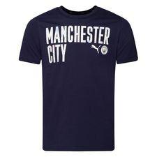 Manchester City T-Shirt FtblCore Wording - Navy/Vit Barn