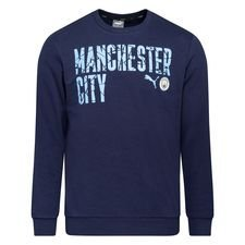 Manchester City Sweatshirt FtblCore Wording - Navy/Team Light Blue Kinder