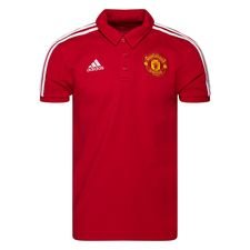 Manchester United Piké 3-Stripes - Röd/Vit