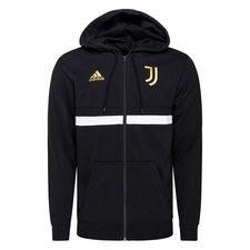 Juventus Luvtröja 3-Stripes FZ - Svart/Vit/Pyrite