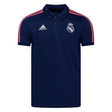 Real Madrid Piké 3-Stripes - Navy/Vit