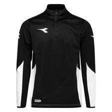 Diadora Trainingsshirt Equipo 1/2 Zip - Schwarz/Weiß Kinder