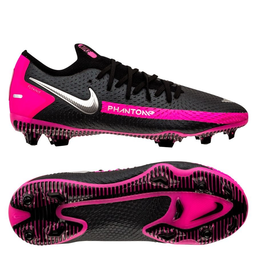 Nike Phantom GT Pro FG - Sort/Sølv/Pink Børn