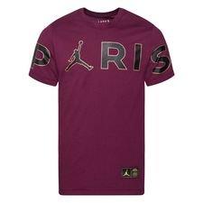 Paris Saint-Germain T-Shirt Wordmark Jordan x PSG - Bordeaux/Svart