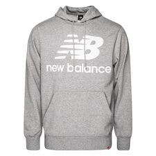 New Balance Hoodie Essentials Stacked Logo - Grau/Weiß