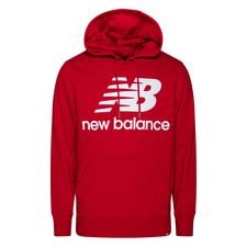 New Balance Hoodie Essentials Stacked Logo - Rot/Weiß