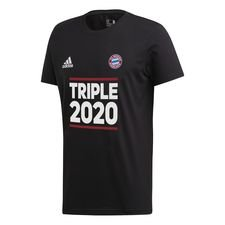 Bayern München Triple 2020 T-Shirt - Svart/Vit Barn