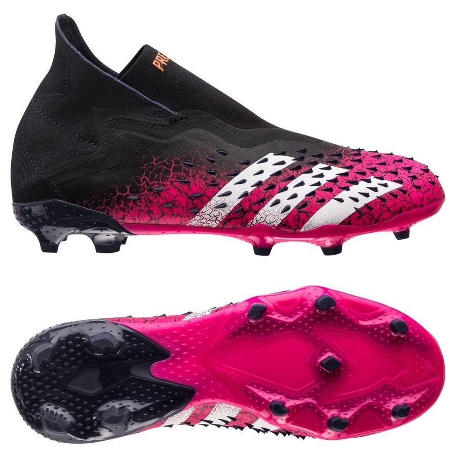 adidas Predator Freak + FG/AG Superspectral - Sort/Hvid/Pink Børn