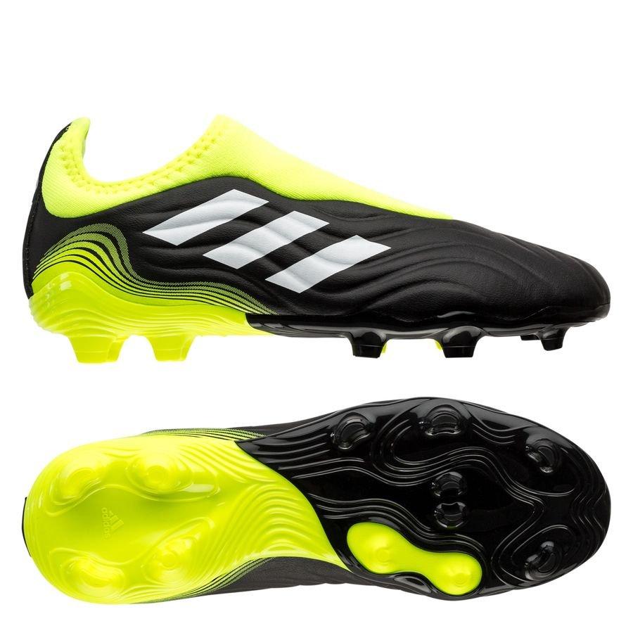 adidas Copa Sense .3 Laceless FG/AG Superlative - Sort/Hvid/Gul Børn