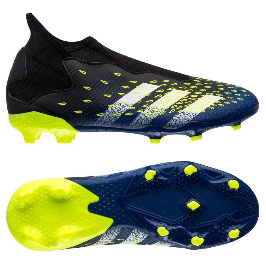 adidas Predator Freak .3 Laceless FG/AG Superlative - Sort/Hvid/Gul Børn